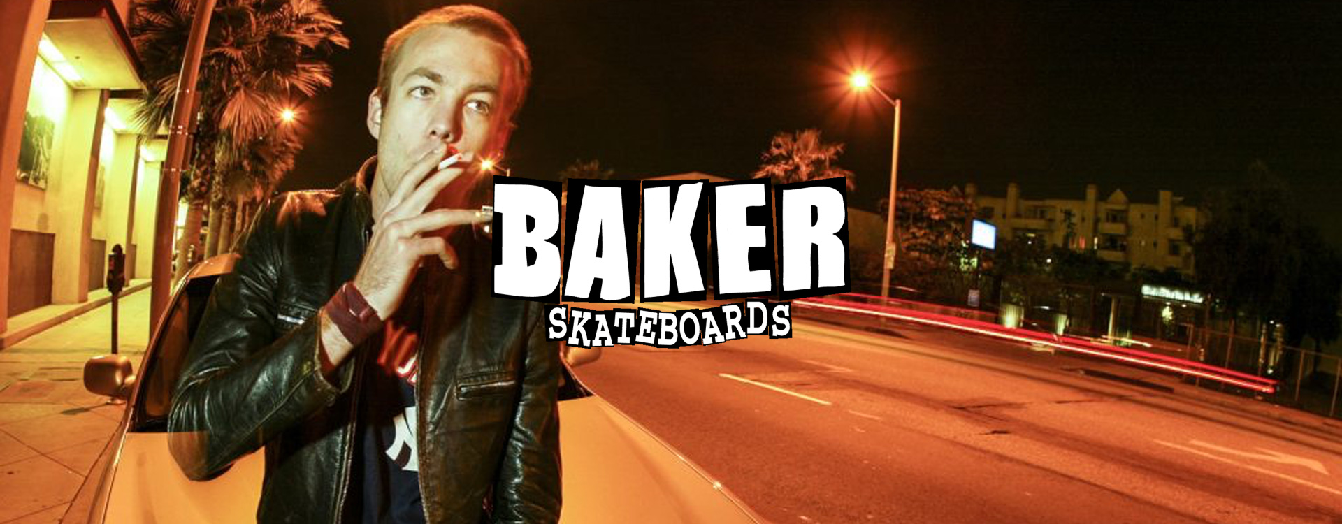 Andrew Reynolds, the boss of Baker Skateboards, smoking a cigarette in Los Angeles