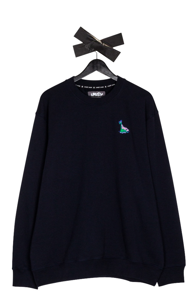 lousy-livin-embroidered-dino-crewneck-sky-captain-01