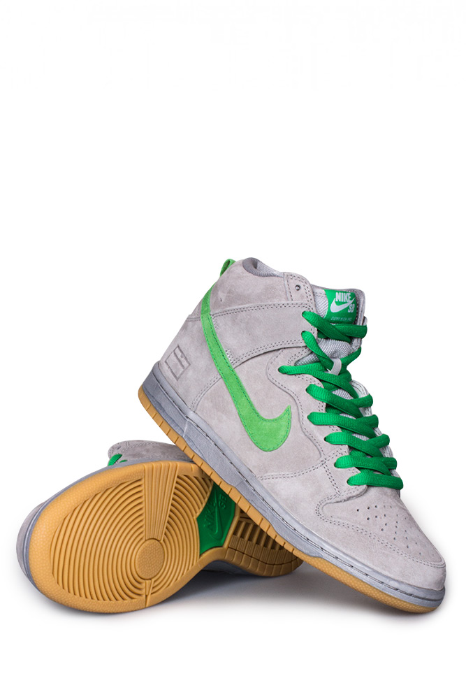 the best attitude 728c9 f68b2 Nike SB Dunk High Premium SB (Grey Box) Shoe Metallic Silver Hyper  Verde Gum Yellow