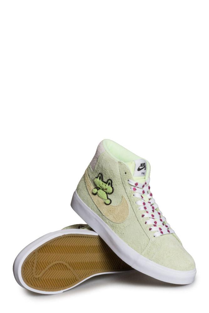 Nike SB X Frog Zoom Blazer Mid QS Shoe LT Liquid Lime Lawn White - Bonkers 531beb647
