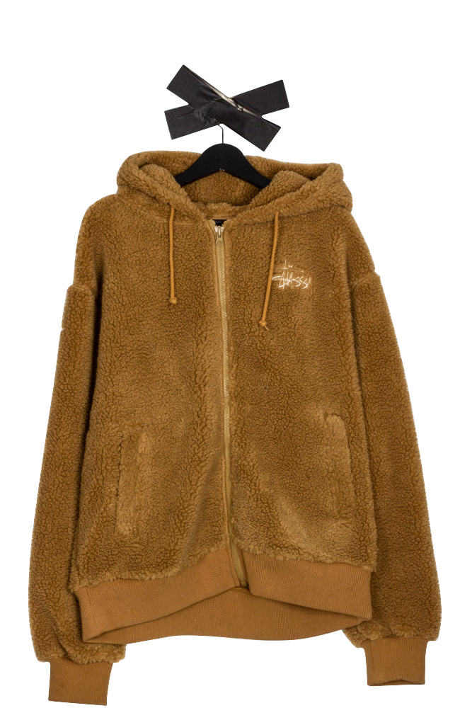 stussy-sherpa-zip-hoodie-brown-01